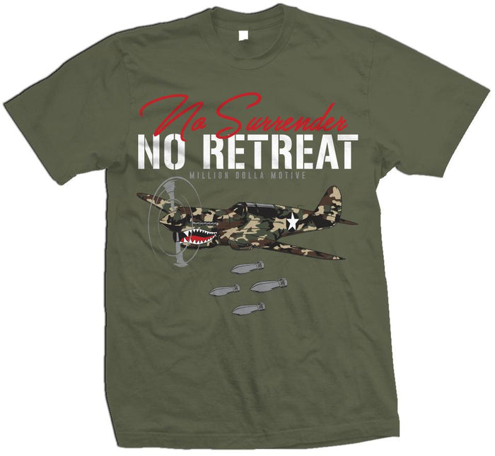 No Surrender No Retreat - Green Camo on Olive T-Shirt