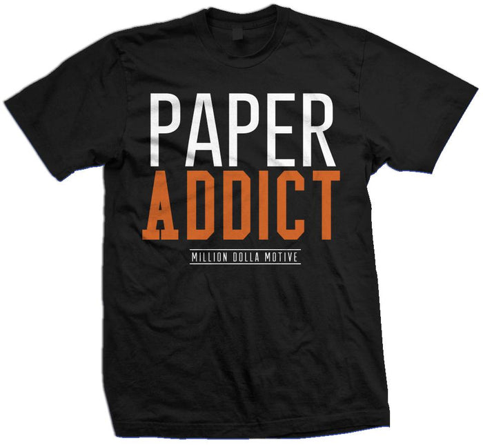 Paper Addict - Orange on Black T-Shirt