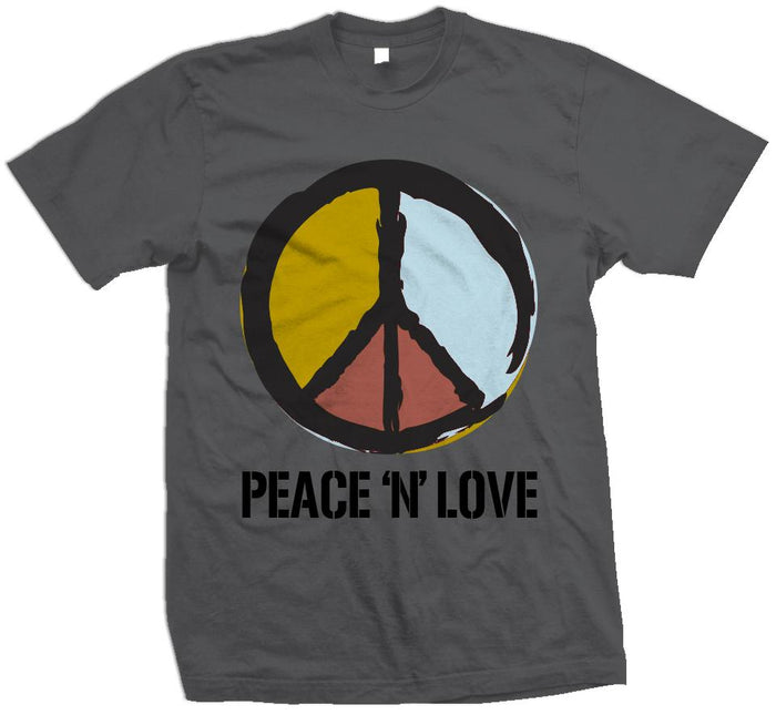 Peace N Love - Graphite/Gold on Dark Grey T-Shirt