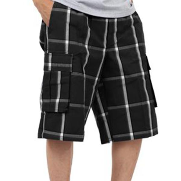 Plaid Cargo Shorts - Black - Million Dolla Motive