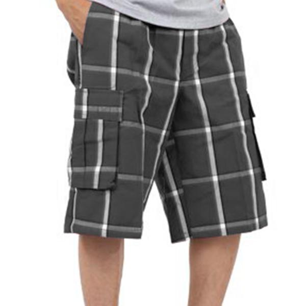 Plaid Cargo Shorts - Dark Grey - Million Dolla Motive
