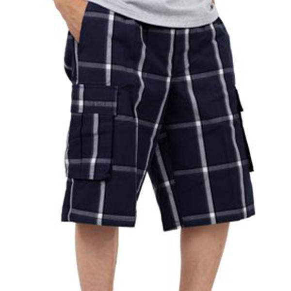 Plaid Cargo Shorts - Navy - Million Dolla Motive