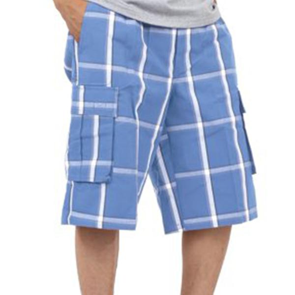 Plaid Cargo Shorts - University Blue - Million Dolla Motive