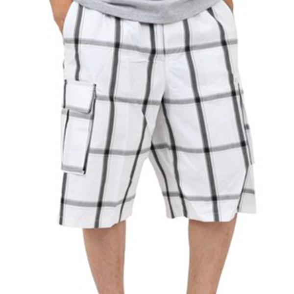 Plaid Cargo Shorts - White