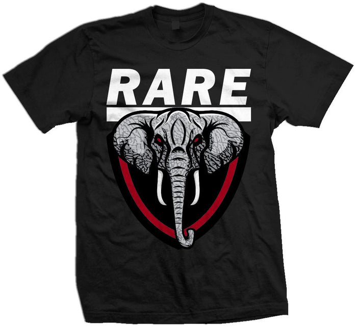 Rare Elephant - Red on Black T-Shirt