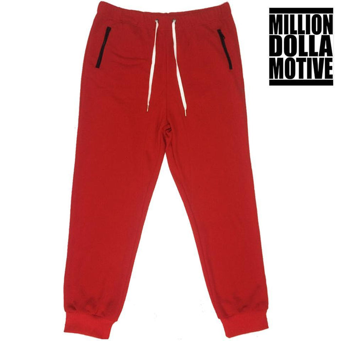 Red Joggers with Black Zipper Pockets - Million Dolla Motive