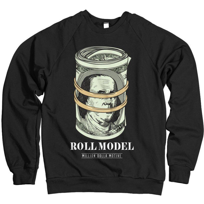 c2e544d8ee9 Roll Model - Black Crewneck Sweatshirt – Million Dolla Motive