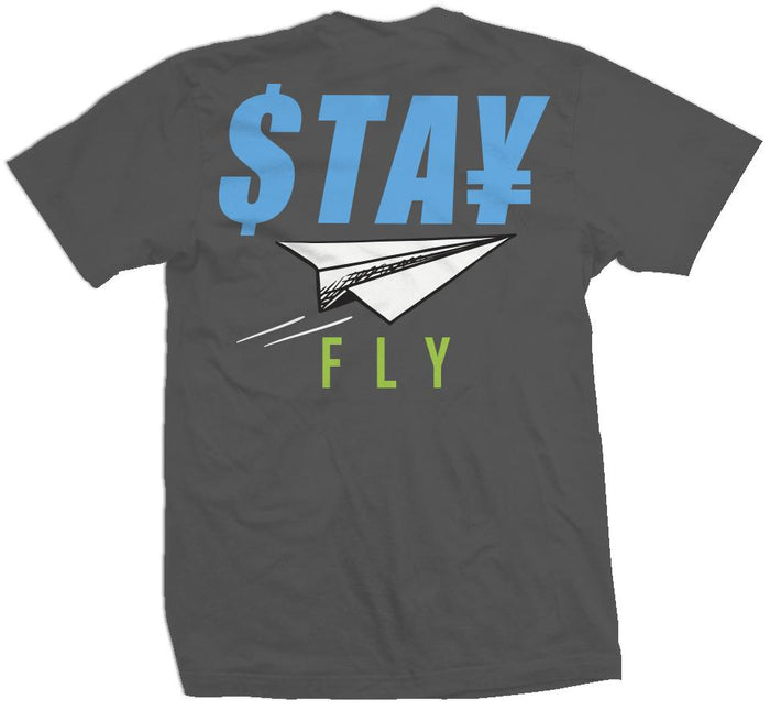 Stay Fly Paper Plane - Dark Grey T-Shirt