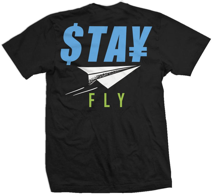 Stay Fly - Blue/ Aurora Green on Black T-Shirt