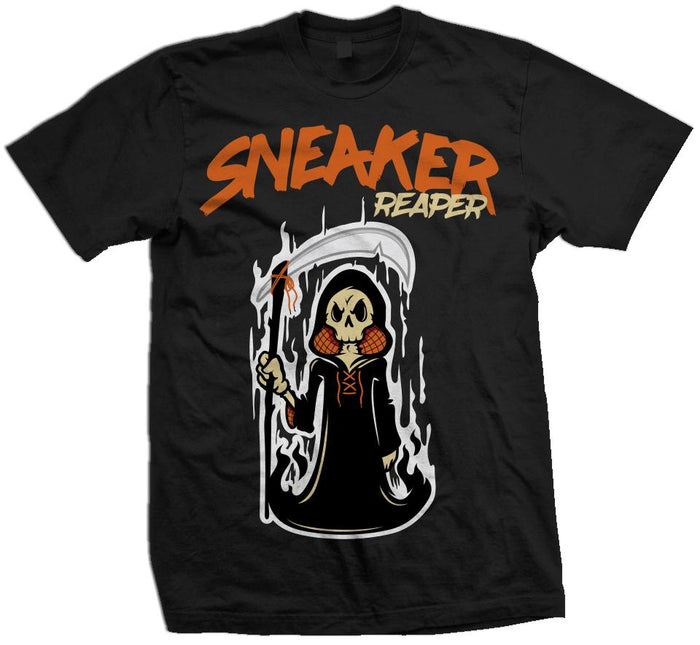 Sneaker Reaper - Orange on Black T-Shirt
