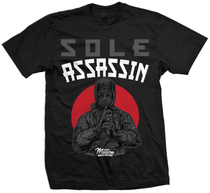 Sole Assassin - Red/Grey on Black T-Shirt