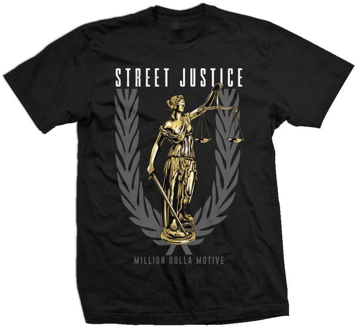 Street Justice - Cool Grey/Gold on  Black T-Shirt
