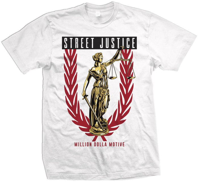 Street Justice - Red/Gold on White T-Shirt