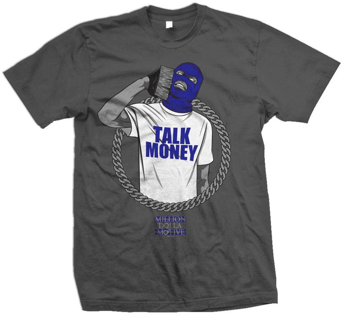 Talk Money Phone - Royal Blue on Dark Grey T-Shirt