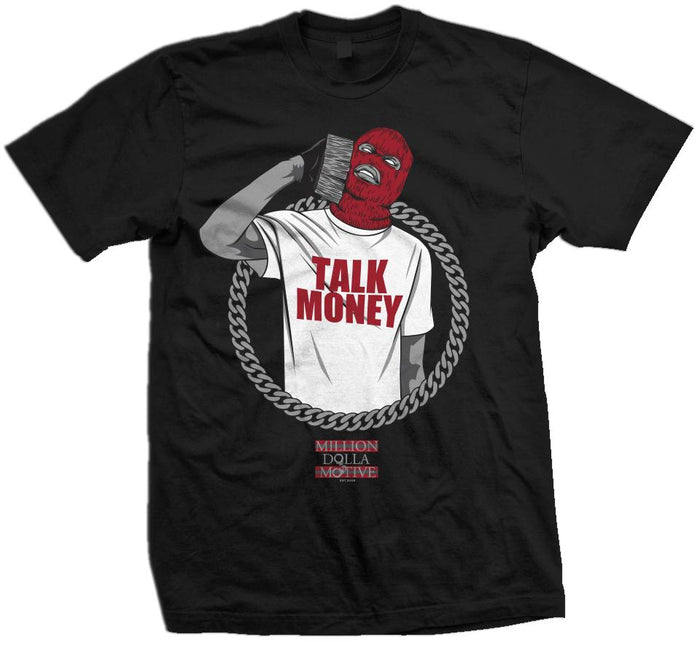 Talk Money Phone - Red on Black T-Shirt