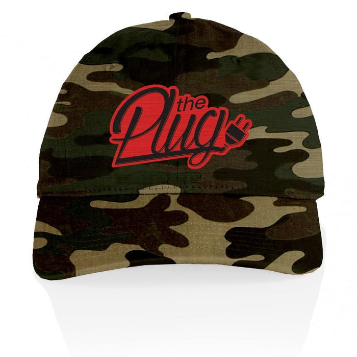 The Plug - Red on Forest Green Camo Dad Hat