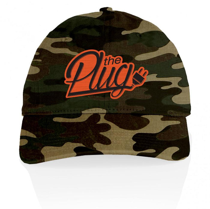 The Plug - Orange on Forest Green Camo Dad Hat
