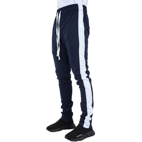 Navy Blue Track Pants with White Stripes