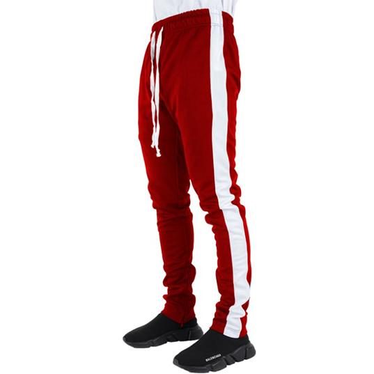 Red Track Pants with White Stripes