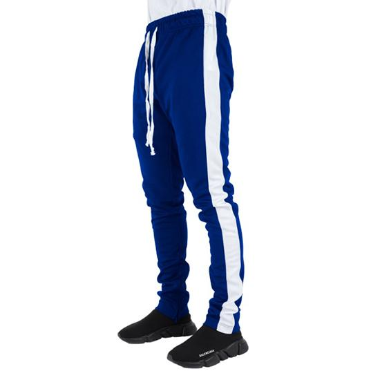 Royal Blue Track Pants with White Stripes