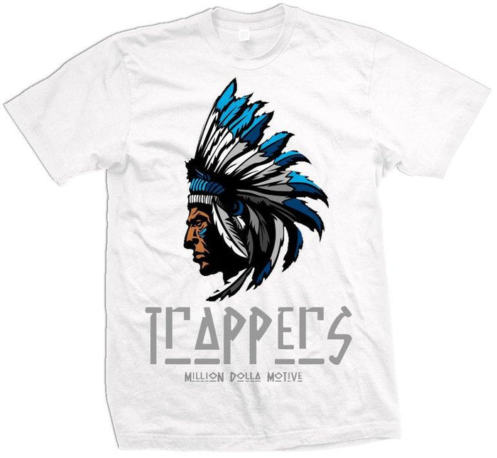 Trappers - Blue on White T-Shirt - Million Dolla Motive