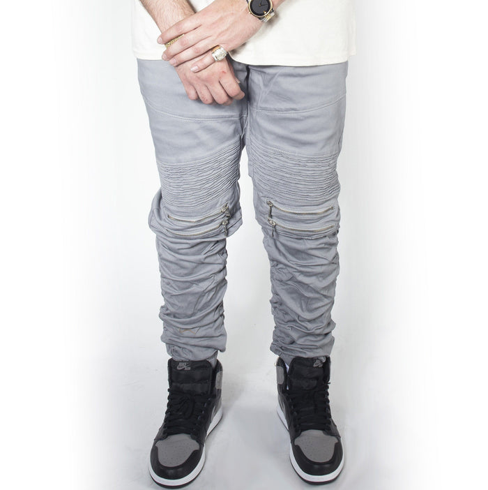 Cool Grey Twill Bungee Jogger Pants JG882