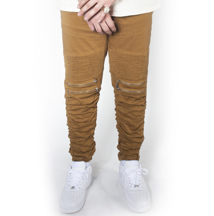 Dark Wheat Twill Bungee Jogger Pants JG882