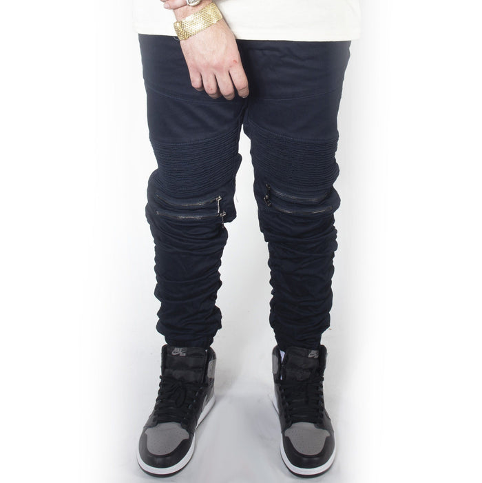 Navy Twill Bungee Jogger Pants JG882