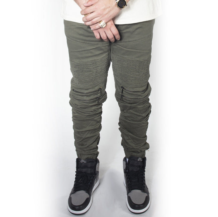 Olive Twill Bungee Jogger Pants JG882
