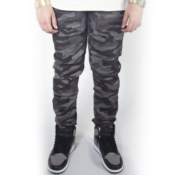 Black Camo Twill Jogger Pants JG804