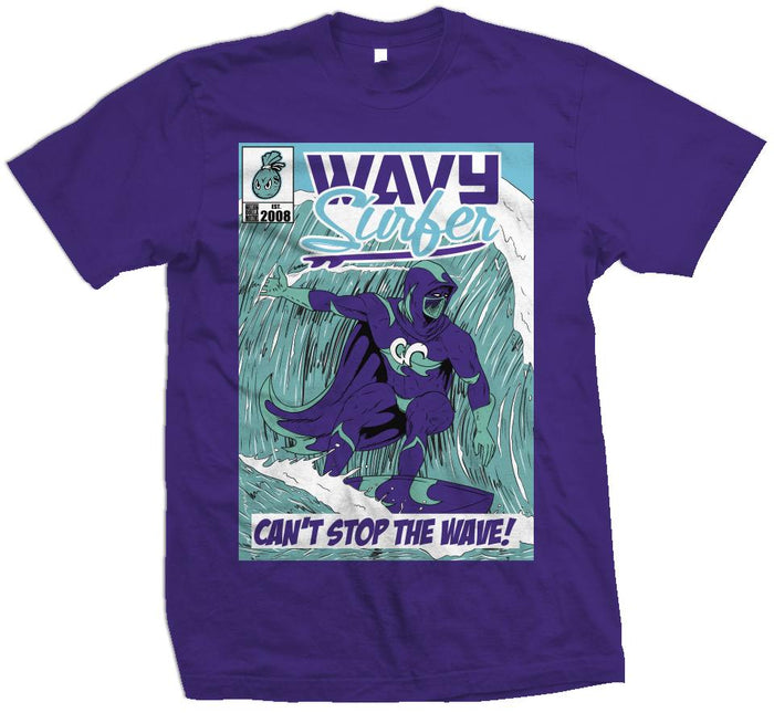 Wavy Surfer - New Emerald on Purple T-Shirt