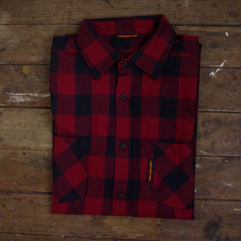 Long Chequered Flannel Work Shirt