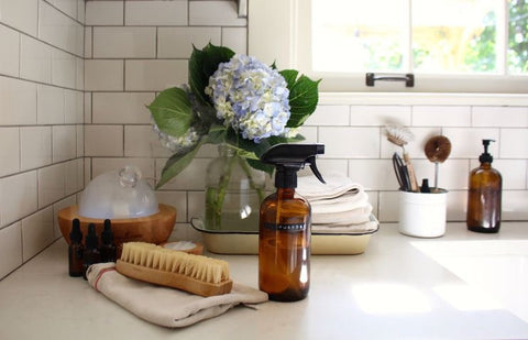 Home Made Chemical Free Surface Cleaner Spray Bottle on Counter