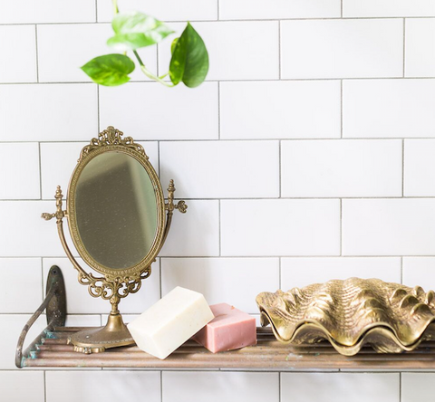 Clary Organic Pink Clay Soap on Bathroom Shelf