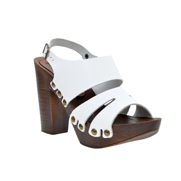 Leather platform sandal in oak with back strap