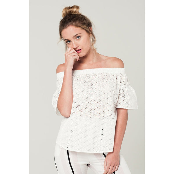 Embroidered Off Shoulder Top In White