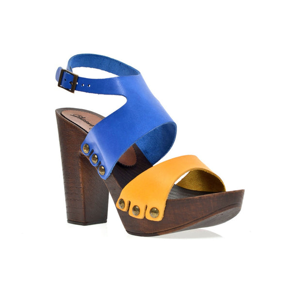 Leather platform bicolor sandal in oak with ankle strap