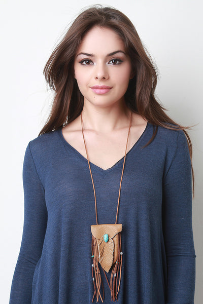 Vegan Leather Pouch Necklace