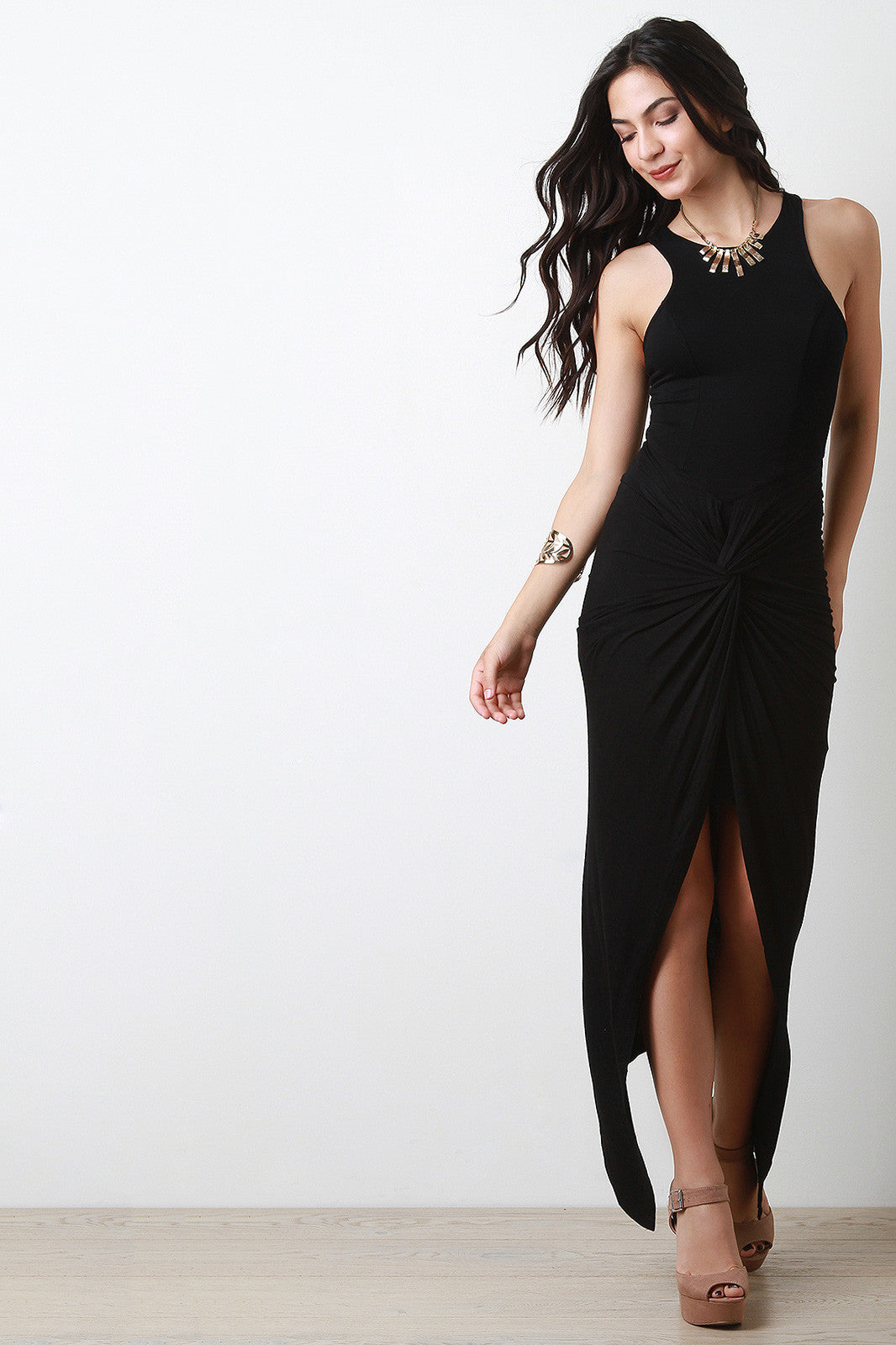 Black or Olive Jersey Knit Twisted-Front Sleeveless Dress