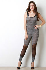 Marled Black Knit Bottom Mesh Panel Jumpsuit