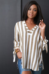 Striped V-Neck Tied Sleeve Top 3 Colors
