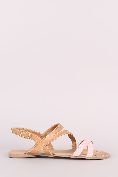 Qupid Two Tone Strappy Open Toe Studded Flat Sandal