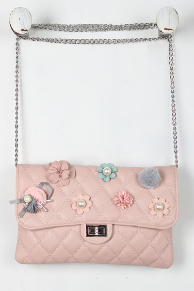 Girly Embellishments Quilted Crossbody Bag