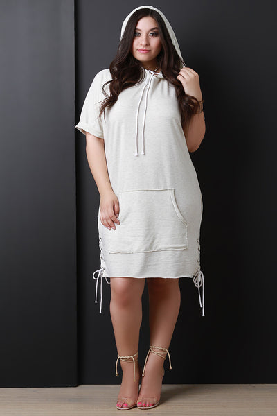 Hoodie Lace-Up Sides Midi Sweater Dress