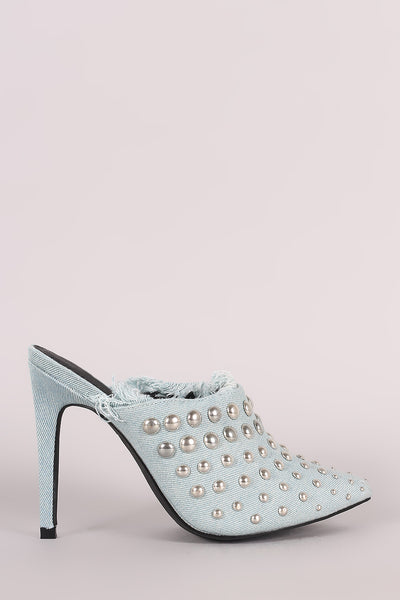 Denim Studded Pointy Toe Fringe Stiletto Mule Heel