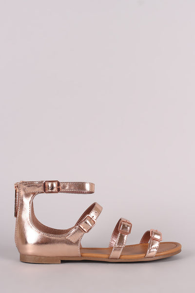 Breckelle Strappy Buckled Open Toe Flat Sandal