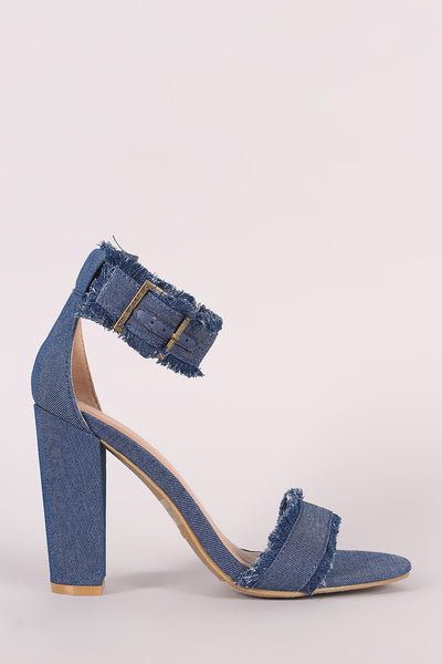 Bamboo Frayed Denim Chunky Heel