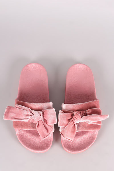 Velvet Bow Accent Slide Sandal