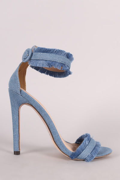 Frayed Denim Open Toe Ankle Strap Single Sole Stiletto Heel