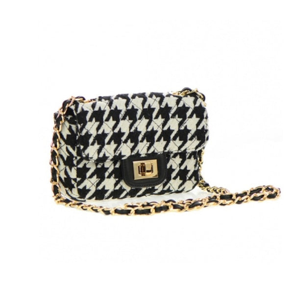 Women's Handbag Black Square Quilted Fabric Bag